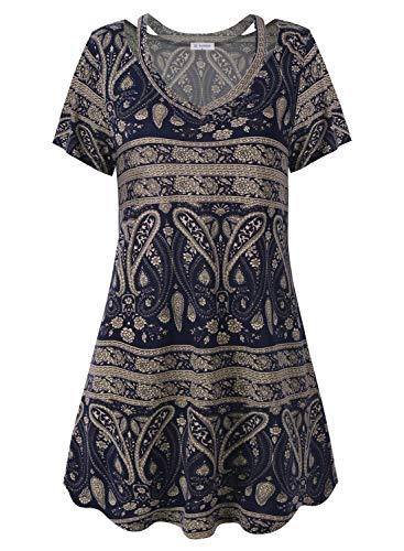 Bulotus Short Sleeve Dresses for Women Summer Dress Paisley Print V Neck, Yellow Blue, X-Large