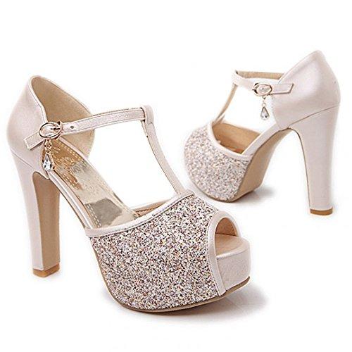 Women High Fashion Platform Beige Heel Lady Sandals Shoes Thin LongFengMa Sexy qwx7PIw5