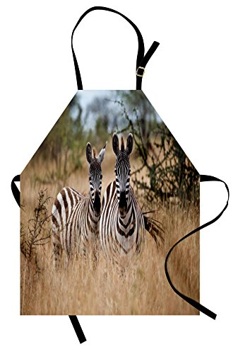 Lunarable Africa Apron, Kenya with Zebras in the High Bushes Looking at the Camera Striped Unique Animal, Unisex Kitchen Bib Apron with Adjustable Neck for Cooking Baking Gardening, (Bush Bib)