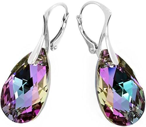 Sterling Silver 925 Pink Blue Teardrop Leverback Earrings with Swarovski Elements