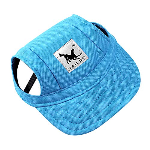 Dog Hat Pet Baseball Cap/ Dogs Sport Hat / Visor Cap with Ear Holes and Chin Strap for Small Dogs (Size S, Blue) By Happy Hours Baseball Hats For Dogs