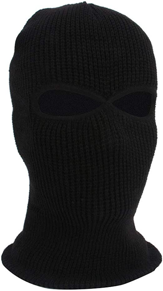 Mens Balaclava Hat 3 Hole Face Mask Orange Knit Cap Winter Long Beanie Hunting