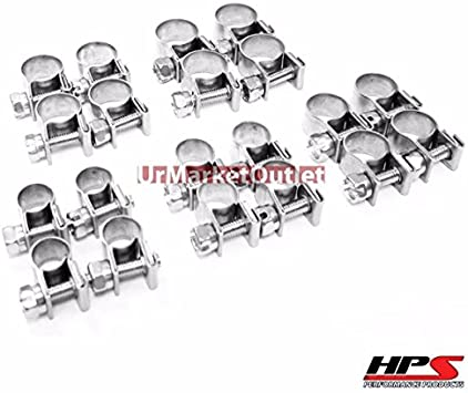6mm-8mm Stainless Steel Fuel Injection Hose Clamp 10x HPS 1//4-5//16