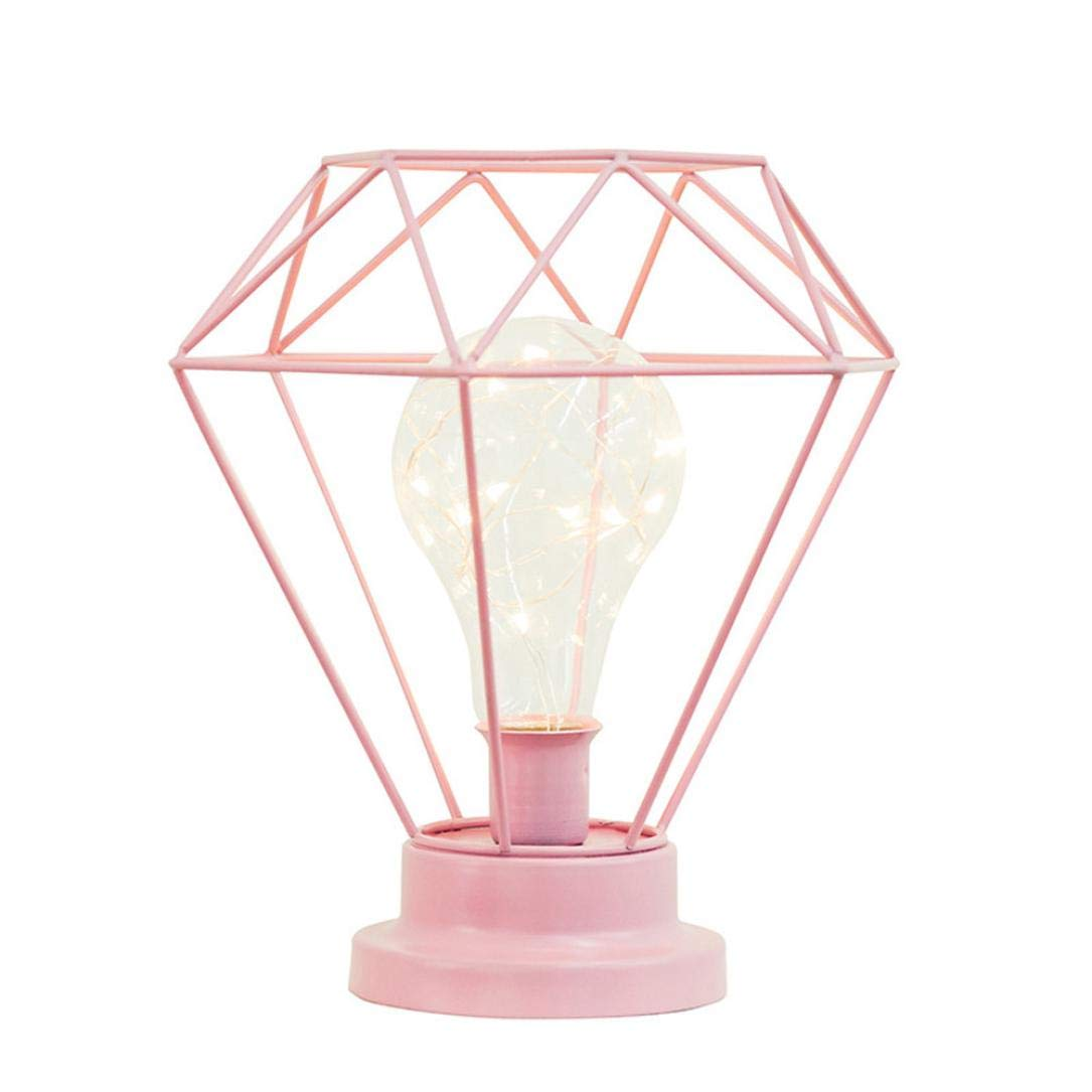 Botrong Creative Desk Lamp Iron Bedroom Decoration Photography Prop Lamp (Pink)