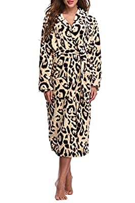 ABC-STAR Women's Hooded Bathrobe Long Plush Robe Loungewear Warm Animal Print