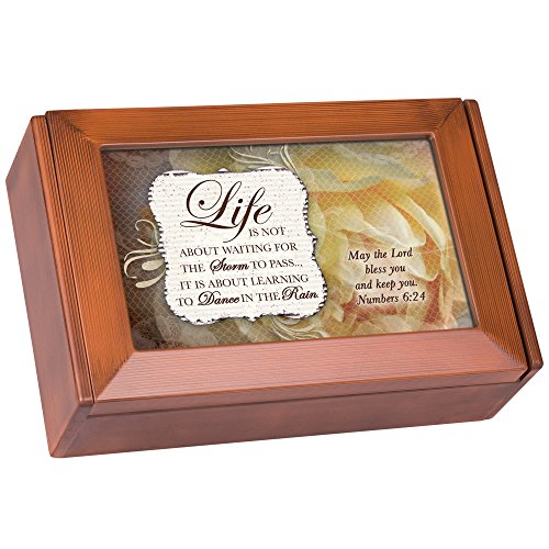 Life is Not Waiting But Learning to Dance in Rain Woodgrain Finish Petite Keepsake Jewelry - Dancing In The Summer