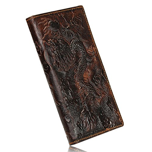 OURBAG Mens Genuine Leather Business Long Bifold Wallet Purse Dragon Pattern Brown