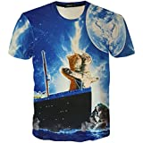 RXBC2011 Men's Short Sleeve Top 3D Printed Titanic Cats Lovers T Shirt M Blue