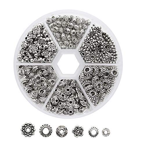 Dreamtop 1 Box 300 Pcs Tibetan Silver Metal Spacer Beads for Jewelry Making Finding (Tibetan Silver Findings)