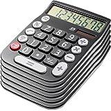 Office Style 8 Digit Dual Powered Desktop Calculator, Large LCD Display, Black (Pack Of 6)