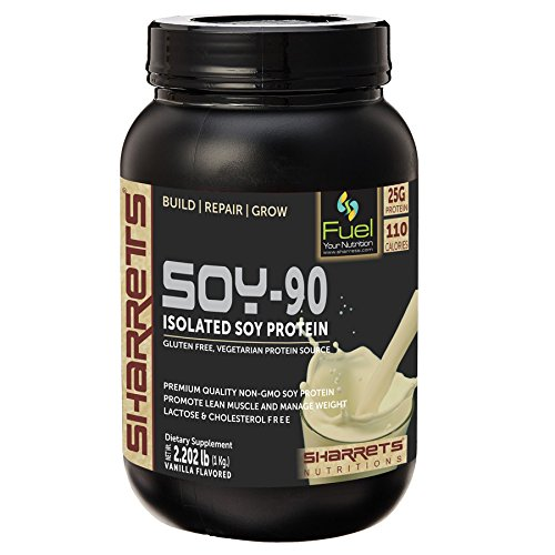 Sharrets Nutritions ISOLATED SOY PROTEIN 90% Vanilla flavored, 2.202 Lb (1Kg) - 100% Vegetarian Plant based Protein