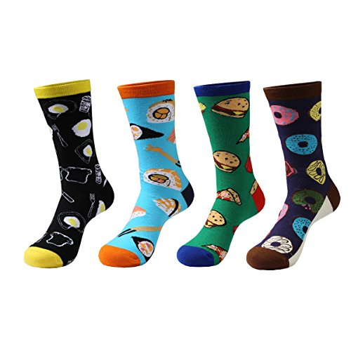 Zmart 4 Pairs Mens Crazy Funny Cute Novelty Cotton Food Crew Socks