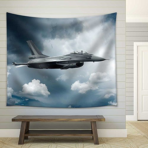 Military Airplane at Flying on the Speed Fabric Wall Tapestry