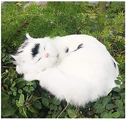 Realistic Large Cat Plush Rabbit Fur Animal Figurine Kitty Lifelike Kitten