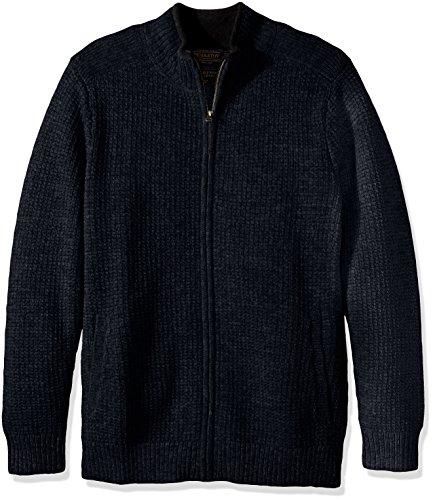 Indigo Ribbed Sweater (Pendleton Men's Shetland Full-Zip Cardingan Sweater, Indigo Heather-63630, XL)