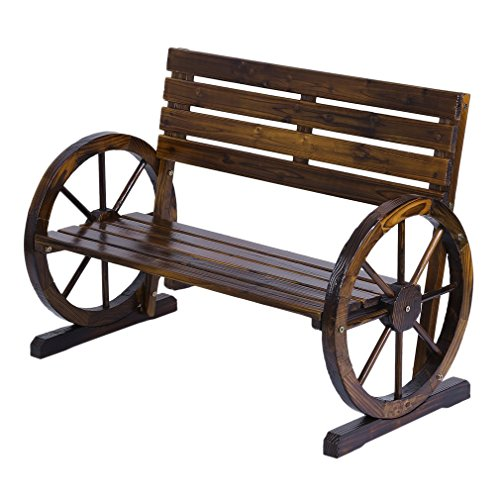 Cheap  OUTAD Patio Garden Park Wooden Wagon Wheel Bench Rustic Wood Design Outdoor..