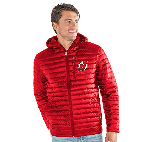 G-III Sports NHL New Jersey Devils Men's Equator Quilted Jacket, XX-Large, Red (Jersey Quilted)