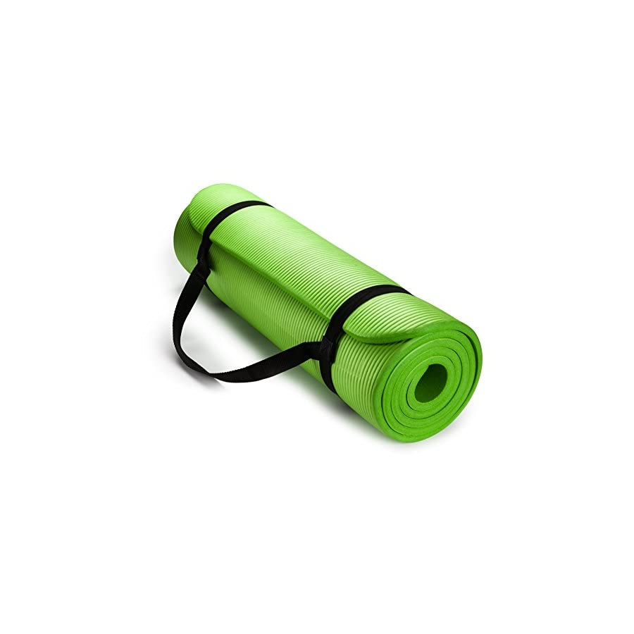 HemingWeigh 1/2 Inch Extra Thick High Density Exercise Yoga Mat with Carrying Strap for Exercise, Yoga and Pilates