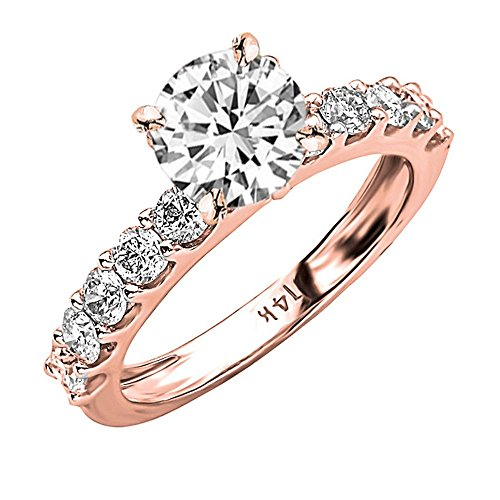 1.9 Carat t.w. GIA Certified Round-Brilliant Cut 14K Rose Gold Classic Side Stone Prong Set Diamond Engagement Ring (D-E Color SI1-SI2 Clarity Center (Certified Round Brilliant Cut)