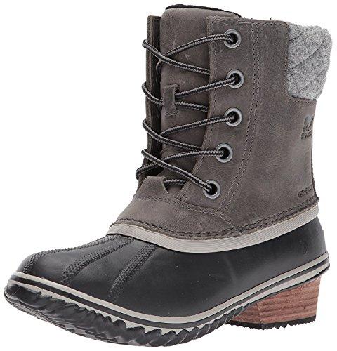 SOREL Women's Slimpack Lace II Snow Boot, Quarry, Black, 9 M US