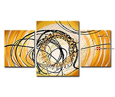 Framed Modern Yellow Abstract Circle Wall Art Oil Painting 3 Piece