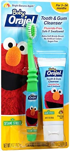 511g%2BPYGY L. AC - Orajel Elmo Fluoride-Free Tooth & Gum Cleanser 1.0 Oz. With Toothbrush, Banana Apple, 1 Oz.