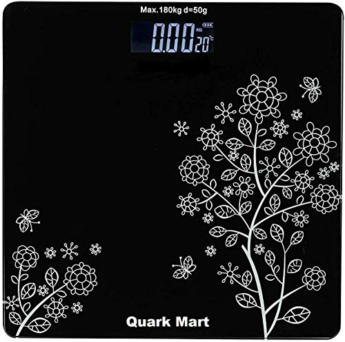QUARK MART Heavy Thick Tempered Glass LCD Display Digital Personal Bathroom Health Body Weight Weighing Scales For Body Weight, Weight Scale Digital For Human Body (Flower Design Bathroom Scale)