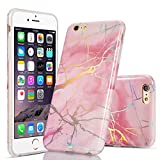 QLTYPRI iPhone 5 5S SE Marble Case, Ultra Slim Silicone Case Soft TPU Bumper Smooth [Shining Plating Marble Design] Shockproof Anti Scratch Rubber Case Cover for iPhone 5 5S SE - Pink