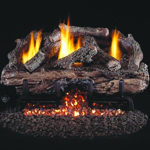 Peterson Real Fyre 24-inch Charred Aged Split Oak Log Set With Vent-free Natural Gas Ansi Certified G10 Burner - Variable Flame Remote by Peterson Real Fyre