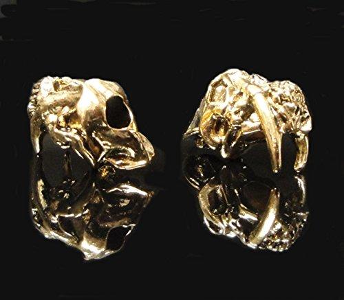 Schmuckatelli Sabretooth Skull Knife Lanyard Bead Keychain Fob Paracord 18k Antique Gold