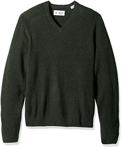 Mens Lambswool Sweater (Original Penguin Men's P55 100% Lambswool V-Neck Sweater, Forest Night, Extra Extra Large)