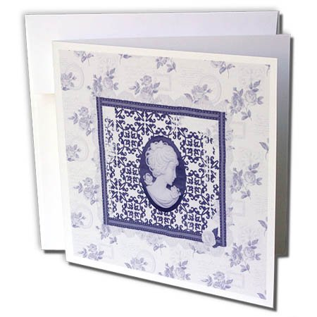 3dRose Beverly Turner Cameo Design - Purple Cameo in Damask Frame, Rose Background - 6 Greeting Cards with envelopes ()