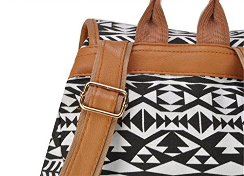Deepon Vintage Fashion Ladies Accessories High Quality Hawaii Totem Geometric Patterns Canvas Simple Butterfly Polka Dot Bag Shoulder Bag Leisure Backpacks