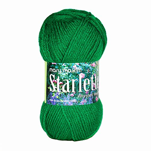 Mary Maxim Starlette Yarn - Green Grass - 100% Ultra Soft Premium Acrylic Yarn for Knitting and Crocheting - 4 Medium Worsted Weight Worsted Weight Knitting Patterns