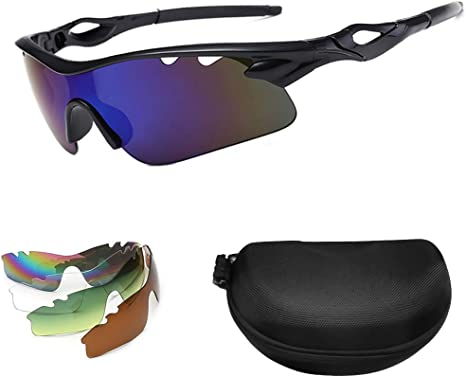 mreechan Gafas De Sol Polarizadas para Ciclismo con 5 Lentes Intercambiables Gafas de Sol Deportivas Antireflejo Anti Viento y UV Adaptadas a Deporte Carrera Running Bicicleta para Hombre y Mujer: Amazon.es: Deportes