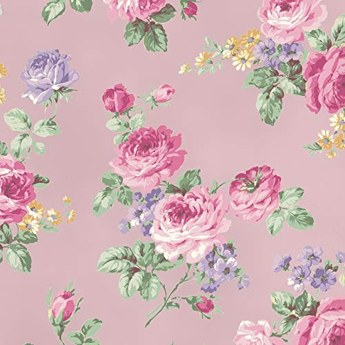 Quilt Gate - Sweet Rose~Large Rose Bouquets on Soft Pink Background - Quilt Gate Cotton Fabric