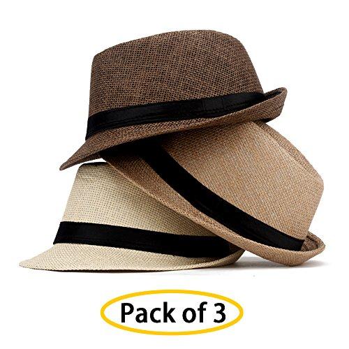 LADYBRO Fedoras Short Brim Hat Sun Straw Hat Summer Beach Headwear Jazz Hat (Pack Of (Short Brim Straw)