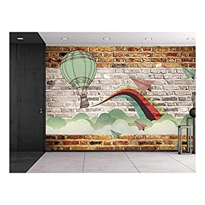 Faux Brick Wall Pattern with Painted Mural - Whimsical hot air Baloon and Paper Airplanes Design Breaking Through Clouds - Wall Mural, Removable Sticker, Home Decor - 100x144 inches