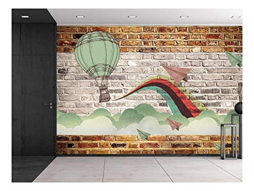 Faux Brick Wall Pattern with Painted Mural Whimsical hot air Baloon and Paper Airplanes Design Breaking Through Clouds Wall Mural