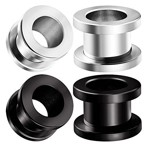 - BIG GAUGES 2 Pairs Surgical Steel 00g Gauge 10mm Black Anodized Screw Tunnels Piercing Jewelry Earring Stretcher Plug Lobe BG0652