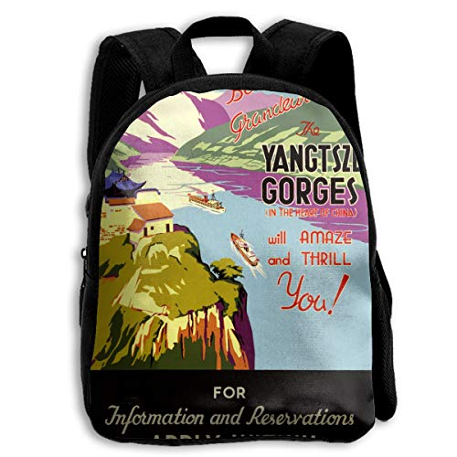 AACC-Bag Children's Bags Vintage China Travel Poster Boys and Girls Backpack¡¢600D Plain Oxford Coth ()