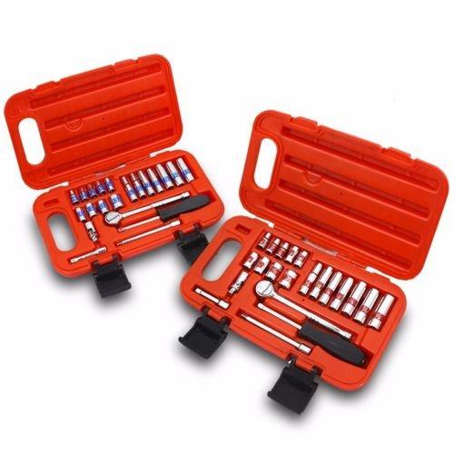 44pcs-1-4-dr-hi-viz-sae-mm-socket-set-mechanic-auto-universal-joint-w-case