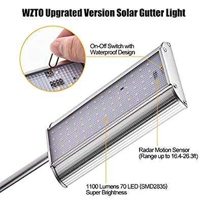 WZTO Solar Gutter Lights Wall Sconces with Mounting Pole 70 LED Solar Lights Outdoor Motion Sensor with 5 Modes, Waterproof, Aluminum Wall Light for Driveway, Yard, Landscape Lighting