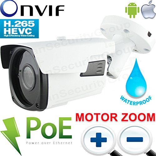 USG Ultra HD 4MP MOTORIZED 2.7-13.5mm 5x Zoom H.265 Ultra HD IP PoE Network Bullet Security Camera : 5MP 2.7-13.5mm Auto-Focus, ONVIF, Weatherproof, IR LEDs 200ft, WDR, Business Grade, Phone App by Urban Security Group