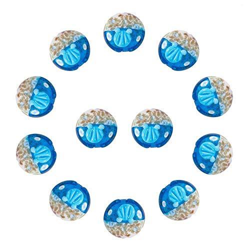 12mm Lampwork Glass Bead - Pandahall 1 Box(12pcs) Ocean Style Flat Round Handmade Lampwork Glass Beads RoyalBlue, 19~20x11~12mm, Hole: 2mm