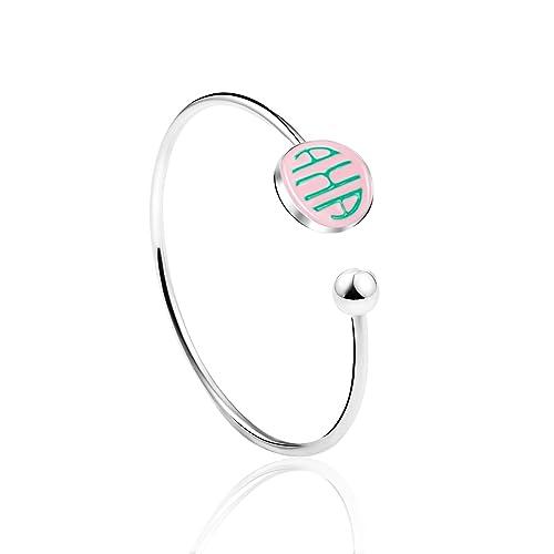 KINGSIN AKA Sorority Alpha Kappa Alpha Paraphernalia Simple Open Bangle Bracelet Graduation Gifts Women