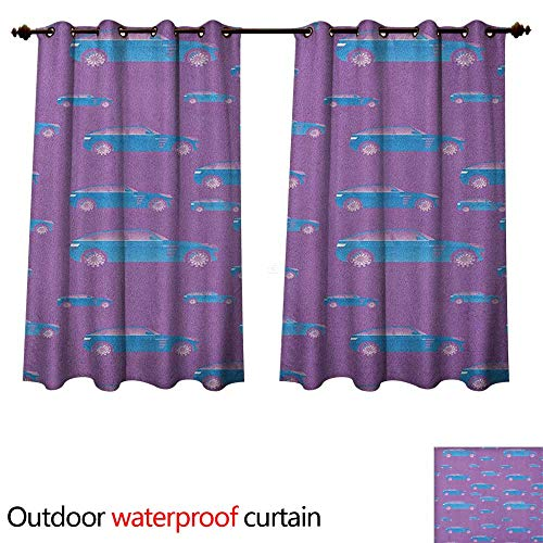 Charcoal Tinted Windows - Anshesix Cars Outdoor Curtain for Patio Blue Automobile on Pink Background Sports Car with Big Wheels and Tinted Windows W108 x L72(274cm x 183cm)