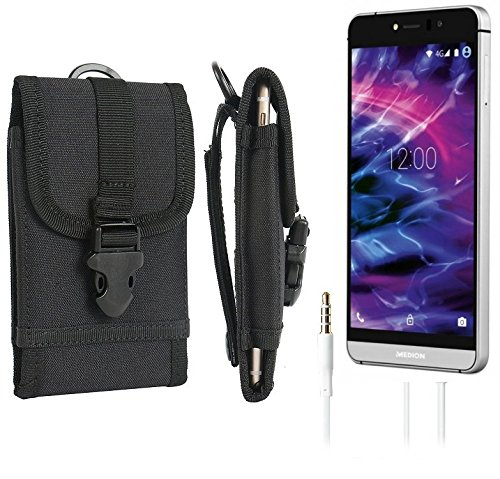 bolsa del cinturón / funda para Medion Life X5004, negro + Auriculares | caja del teléfono cubierta protectora bolso - K-S-Trade (TM)