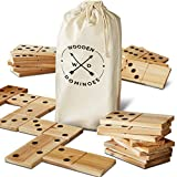 Refinery And Co. 28 Piece Jumbo Wood Dominoes Game Toy Set, Oversized Tiles Measure 7 x 3 Inches, Includes Canvas Carrying Bag for Storage, Indoor/Outdoor Use, Great for Backyard Parties