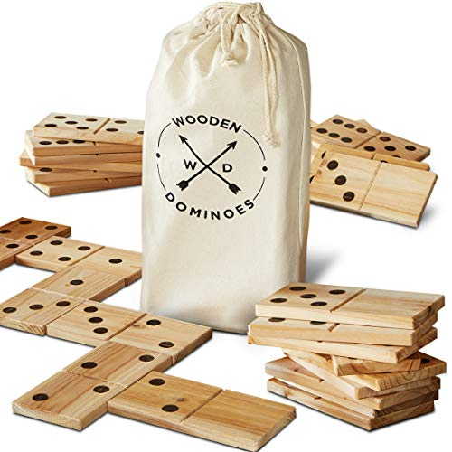 Refinery And Co. 28 Piece Jumbo Wood Dominoes Game Toy Set, Oversized Tiles Measure 7 x 3 Inches, Includes Canvas Carrying Bag for Storage, Indoor/Outdoor Use, Great for Backyard Parties]()